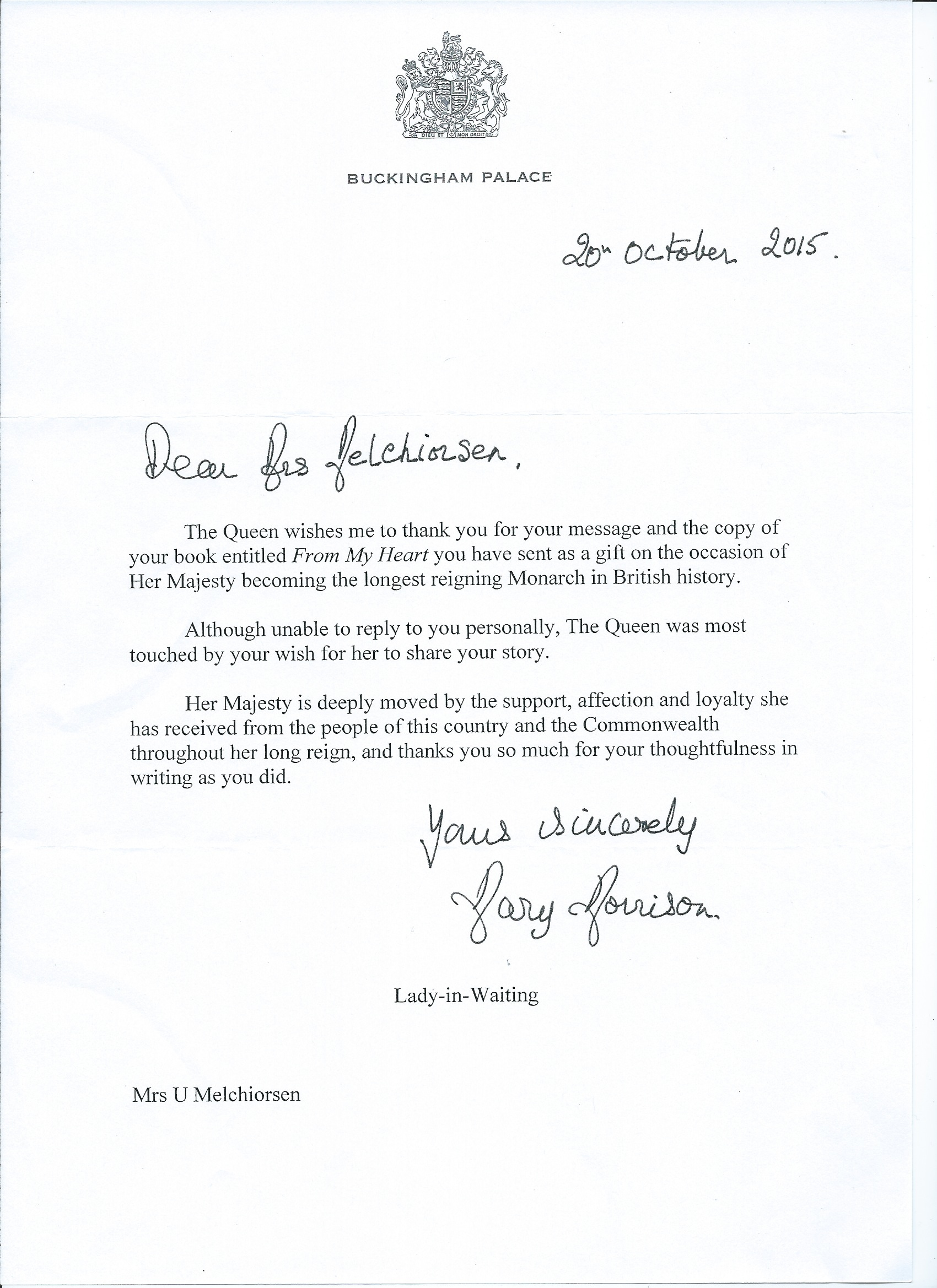 Buckingham Palace Letter